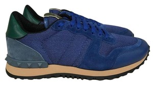 Valentino Rockstud Studded Leather Suede Trainer blue Athletic
