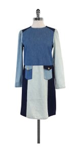 Love Moschino short dress Blue Denim Colorblock Shift on Tradesy