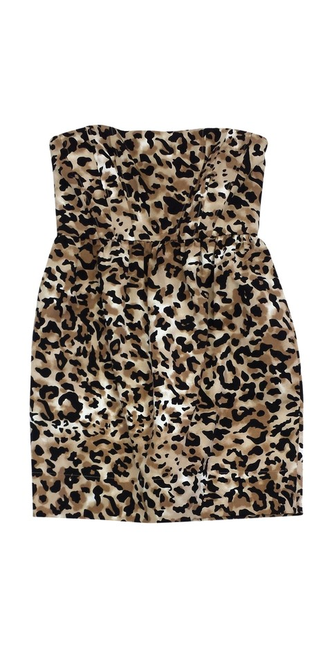 Leopard Strapless Mini Dress