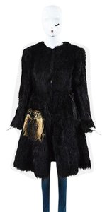 Prada Brown Beige Fur Long A Line Coat