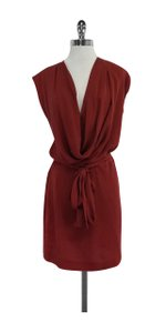 Diane von Furstenberg short dress Red Cowl Neck Silk on Tradesy