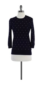 J.Crew Navy Purple Dot Cashmere Sweater