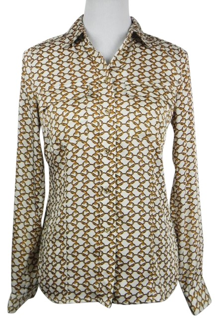 Item - Cream Gold New Silky Chain Print Long Sleeve Blouse Button-down Top Size 2 (XS)