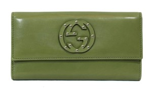Gucci Gucci 231843 Studded Interlocking G Washed Soft Leather Wallet Green