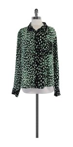 Elizabeth and James Black Cream Green Silk Top
