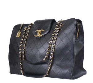 Chanel Overnight Tote Black Travel Bag
