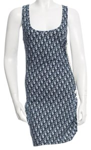 Dior short dress Blue, White Cotton Diorissimo Monogram Sleeveless on Tradesy