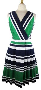 Lauren Ralph Lauren short dress Green, Blue, White Fit Flare Pleated Stripe on Tradesy