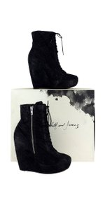 Elizabeth and James Black Scale Platform Wedge Boots