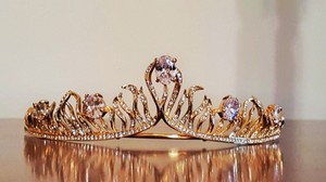 Grogeous Cz Bridal Gold Plated Tiara