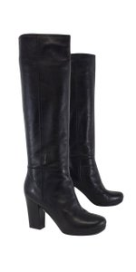 Prada Black Leather Tall Boots