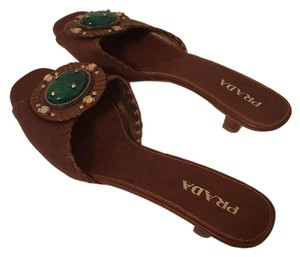 Prada-Make an Offer Brown with Jade Green Stone Sandals