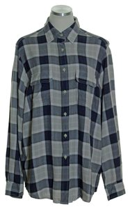 Gloria Vanderbilt Button Down Shirt Gray