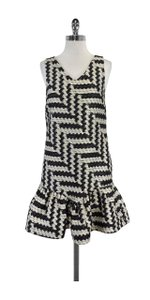 Christian Siriano short dress Black Cream Knit Sleeveless on Tradesy