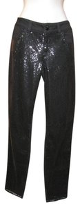 Grane Sequin Holiday Night Out Skinny Pants Black