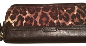 Coach Double Zip Ocelot Print Canvas Leather