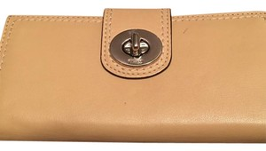 Coach Beige Leather Wallet with Silver Turnlock
