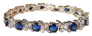 Other Luxury Wedding Sapphire Blue CZ Bracelet Silver Plated