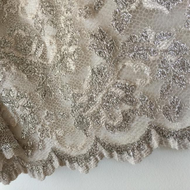 Boston Proper Champagne Champagne Sparkle Scalloped Top Cream Image 4