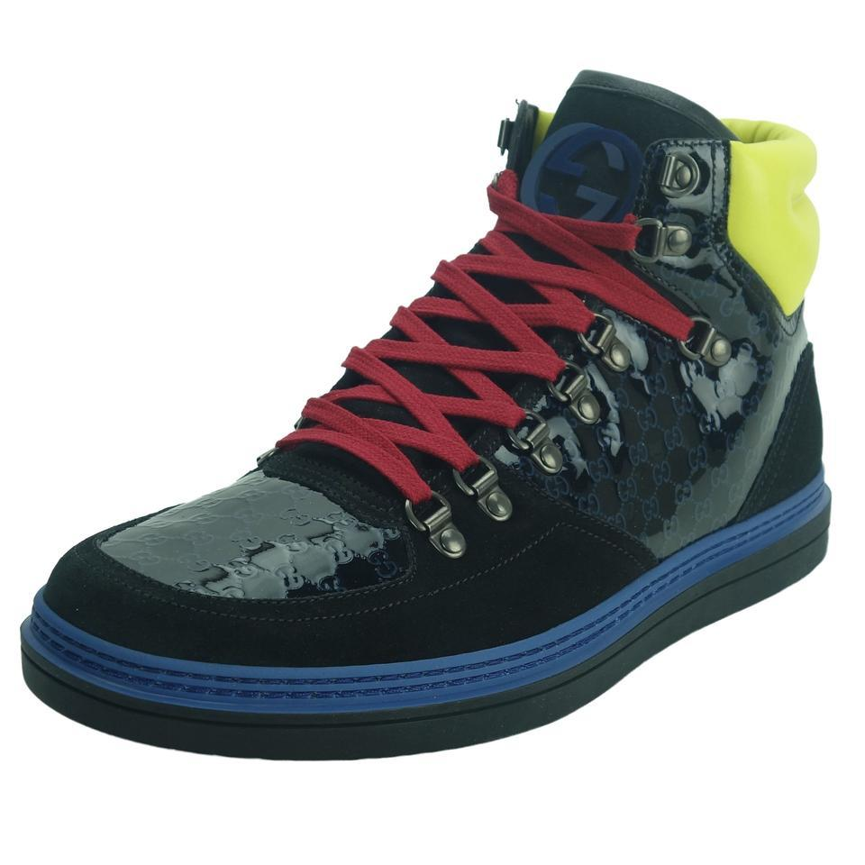 d23ab58c1bb8 Gucci Black Blue Yellow Red 392167 Men s Limited Edition High Top ...