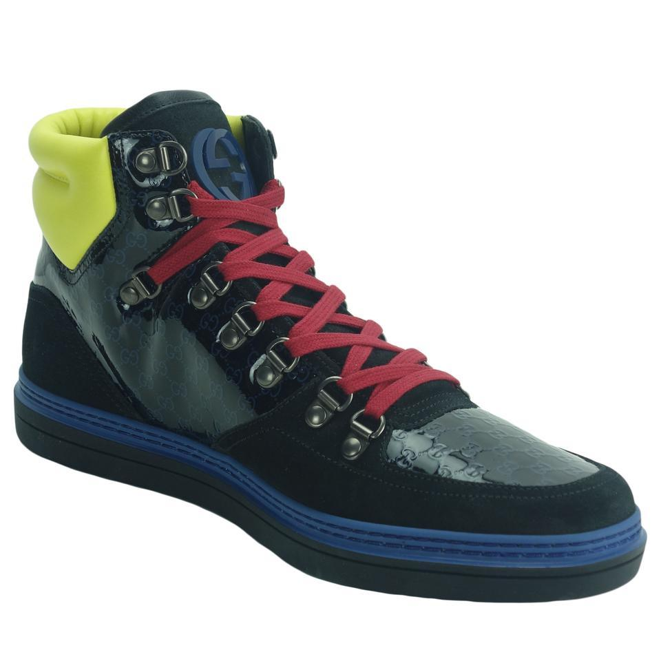 e8439201b8c2 Gucci Black Blue Yellow Red 392167 Men s Limited Edition High Top Sneaker  G9 Sneakers. Size  US 10 ...