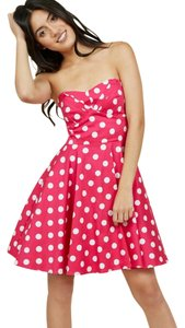 Modcloth short dress Pink Strapless Sweetheart A-line Polka Dot Print on Tradesy