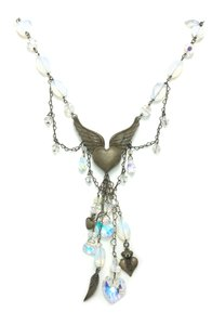 Kinley Sterling Silver Heart Opalstone and Crystal Kinley Necklace
