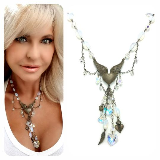 Kinley Sterling Silver Heart Opalstone and Crystal Kinley Necklace Image 1
