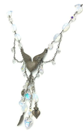 Kinley Sterling Silver Heart Opalstone and Crystal Kinley Necklace Image 2