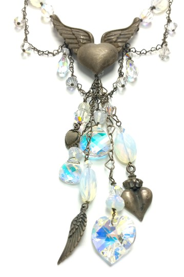 Kinley Sterling Silver Heart Opalstone and Crystal Kinley Necklace Image 3