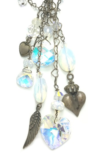 Kinley Sterling Silver Heart Opalstone and Crystal Kinley Necklace Image 6