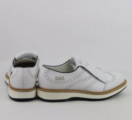 Gucci White Men's Leather Brogue Fringed Oxford Golf 9/ Us 9.5 368438 9014 Shoes Image 4