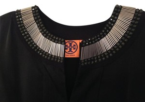 Tory Burch Party Beaded Embellished Fitted Top Black and Silver
