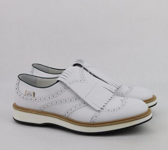 Gucci White Men's Leather Brogue Fringed Oxford Golf 10/ Us 10.5 368438 9014 Shoes Image 3