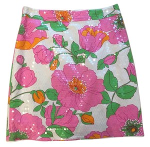 Kate Spade New Shimmers Floral Feminine Mini Skirt Pinks, white, multi
