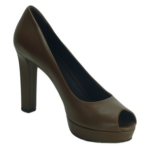 Gucci 337812 Leather Peep Toe brown Platforms