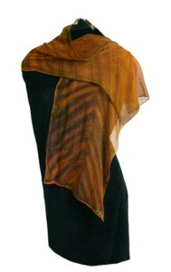 An Eclectic Artisan Silk Wrap Shawl Scarf Ombre Tan Brown