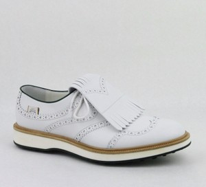 Gucci White Men's Leather Brogue Fringed Oxford Golf 10.5/ Us 11 368438 9014 Shoes