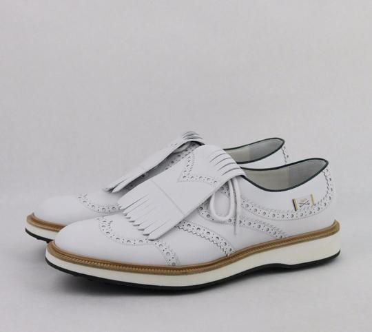 Gucci White Men's Leather Brogue Fringed Oxford Golf 10.5/ Us 11 368438 9014 Shoes Image 1