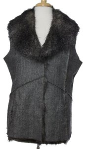 Jeffrey Banks Herringbone Tweed Faux Fur Vest