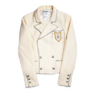 Chanel Patch Tweed Coat Jacket Embroidered Cream Blazer
