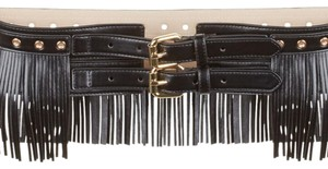 BCBGMAXAZRIA FRINGE FAUX LEATHER WAIST BELT