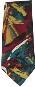 ENRICO COVERI New Men's ENRICO COVERI 100% Silk Red & Teals Absract Long Necktie