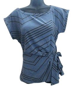 Banana Republic Striped Asymmetric Formal Spring Top Blue & White