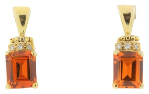 Other Emerald Cut Citrine Diamond Drop Earrings - 18k Yellow Gold Emerald