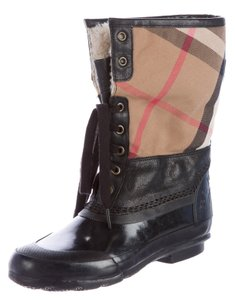 Burberry Plaid Round Toe Ankle Nova Check Boots