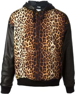 Moschino Leather Jeremy Scott Hooded Leopard Leather Jacket