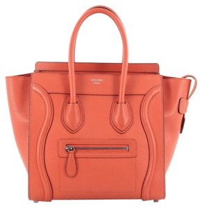 Céline Leather Tote in Orange