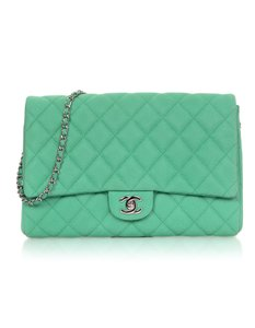 Chanel Caviar Leather Evening Flap Timeless seafoam green Clutch