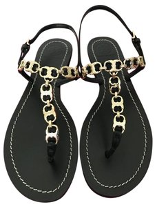 Tory Burch Leather Link Black Sandals